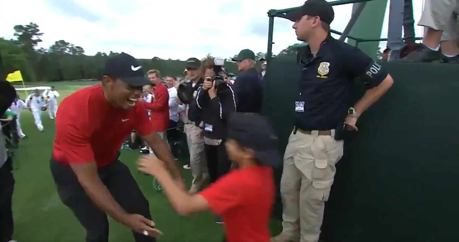 tiger woods celebrates masters win with the sweetest