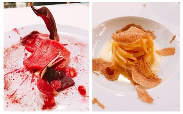 マグロにビーツとマグロを合わせた赤い一品「マッタンツァ」(左)と「白トリュフのタヤリン」(右)
