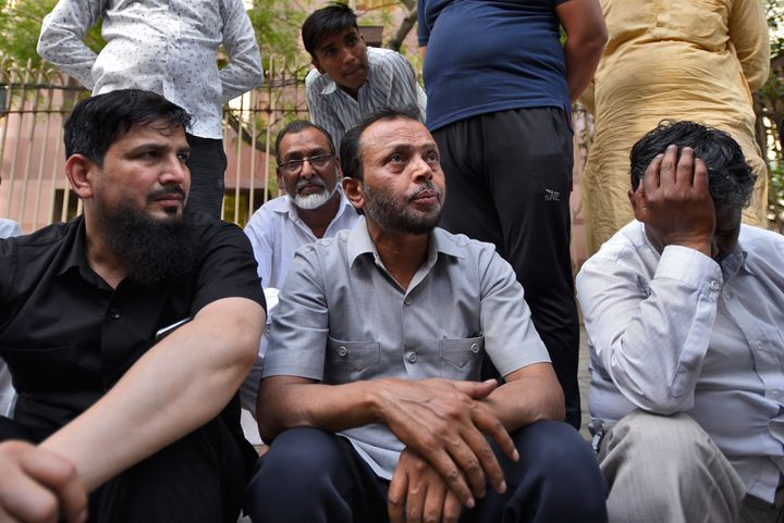 Shakir Hussain (C) father of Mohammad Salman, talks to reporters after his son was 'accidentally' shot dead by his friend in a car at Ranjit Singh flyover near Barakhamba on April 14, 2019 in New Delhi.