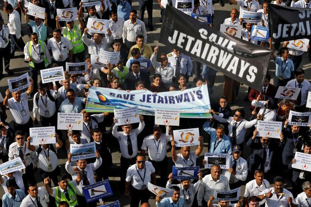 Jet Airways employees protest, demanding to