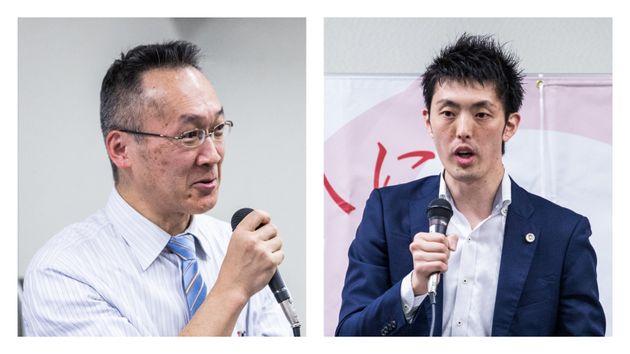 記者会見で語る、中川重徳弁護士(左)と加藤慶二弁護士
