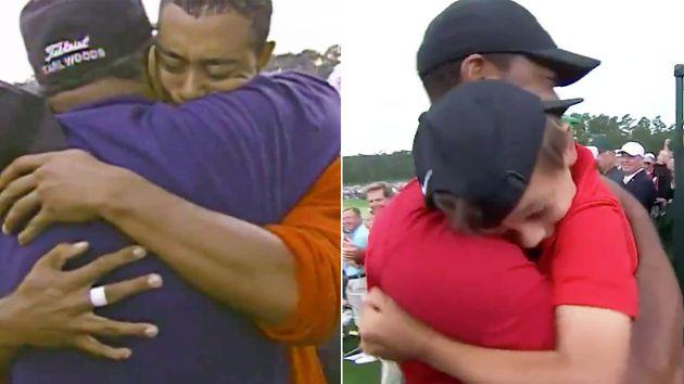 1997年、マスターズ初制覇で父親と抱き合うタイガーウッズ(左)/2019年、5度目の制覇で息子と抱き合うタイガーウッズ(右)