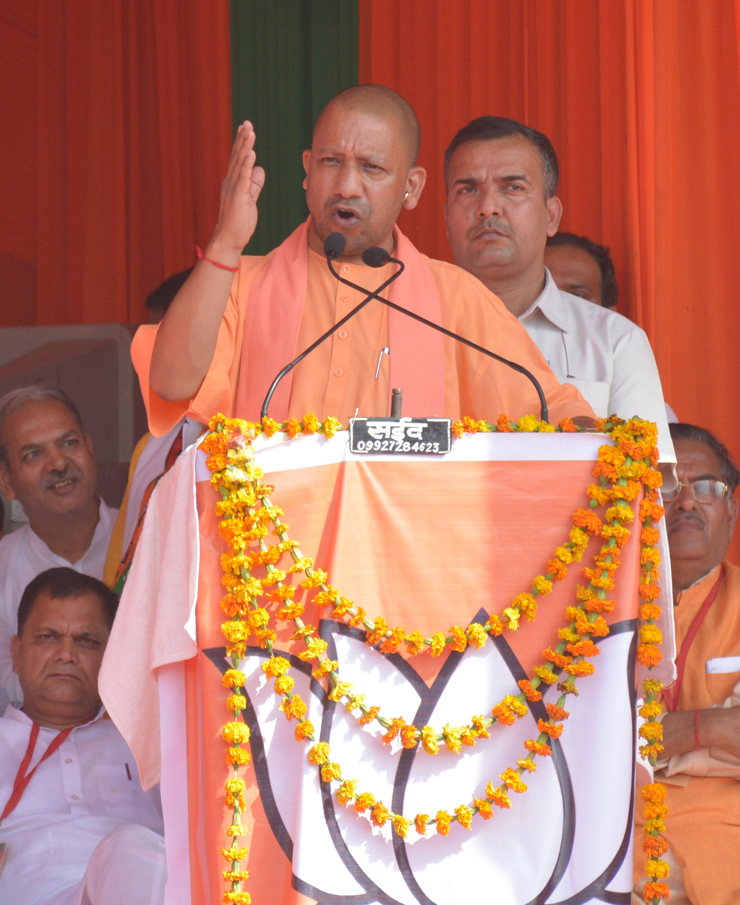 Yogi Adityanath addresses an election campaign rally at Ramleela Ground on April 9, 2019 in