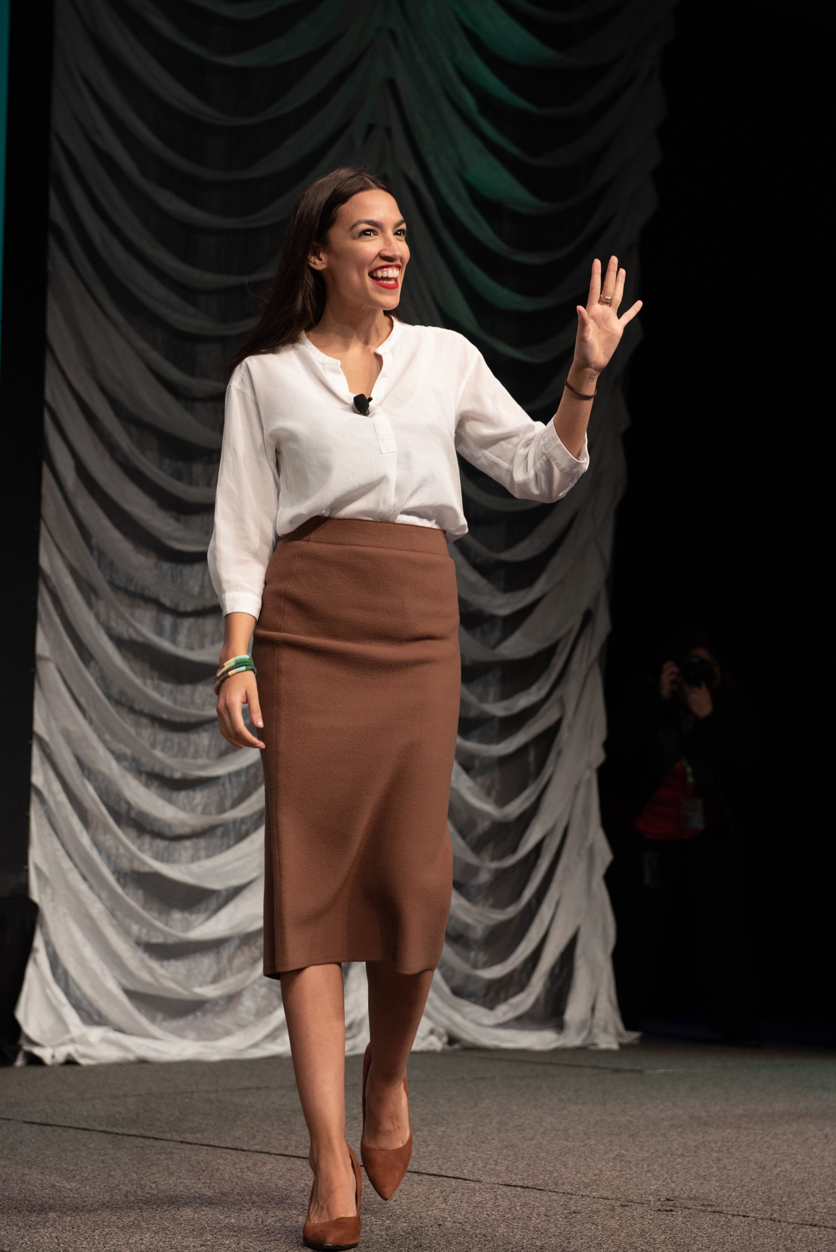 AUSTIN, TEXAS - MARCH 09: Alexandria Ocasio-Cortez walks onto the stage during the 2019 SXSW Conference and Festival at the Austin Convention Center on March 09, 2019 in Austin, Texas. (Photo by Jim Bennett/WireImage)
