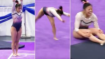 Samantha Cerio dislocated both her knees. Image: NCAA