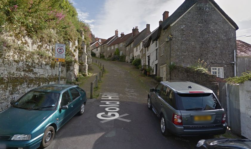 Gold Hill, in Dorset, isn't one for car's with a sloppy handbrake.