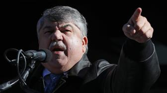 WASHINGTON, DC - JANUARY 10:  AFL-CIO President Richard Trumka addresses a rally against the partial federal government shutdown with hundreds of federal workers and contractors outside the headquarters of the AFL-CIO January 10, 2019 in Washington, DC. As the second-longest government shut down continues, Democrats and Republicans have not found a compromise for border security funding and President Donald Trump's proposed wall on the U.S.-Mexico border. (Photo by Chip Somodevilla/Getty Images)
