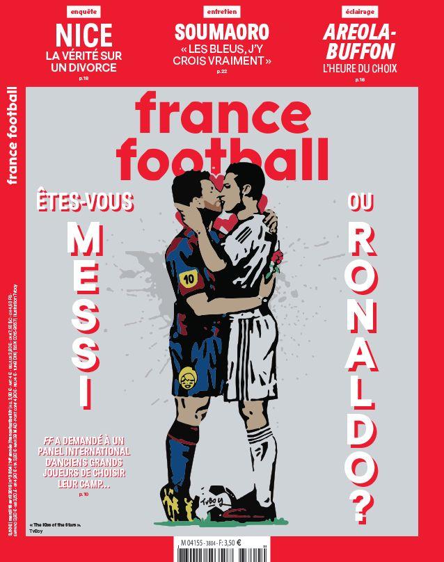 Messi embrasse Ronaldo en Une de France Football et enflamme