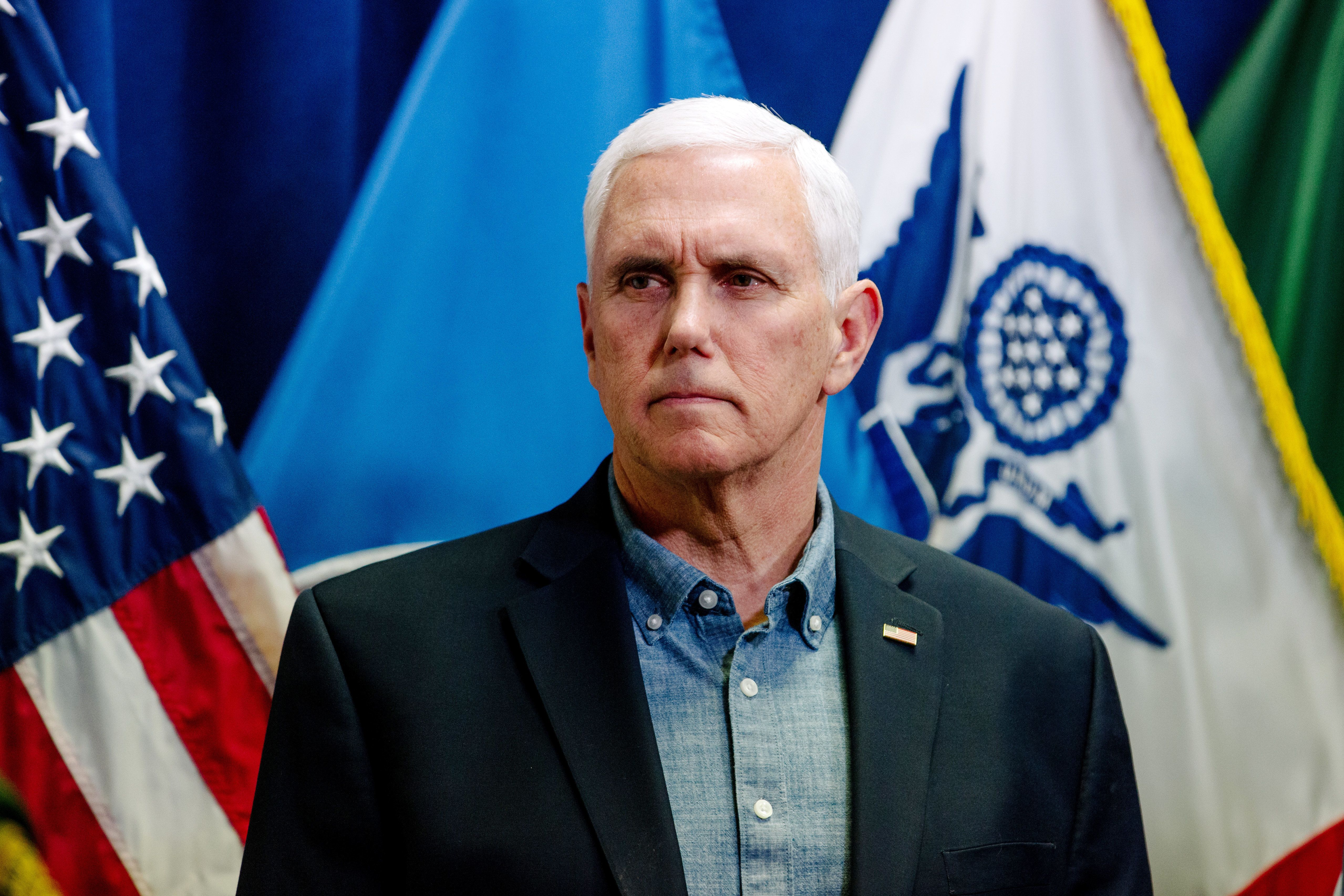 U.S. Vice President Mike Pence listens during a visit to the U.S. Border Patrol Station in Nogales, Arizona, U.S., on Thursday, April 11, 2019. President Donald Trump's intensifying border crackdown promises to make immigration a central issue of the 2020 campaign, but the Democrats running to replace him haven't yet offered voters a detailed vision beyond fierce opposition to his policies. Photographer: Caitlin O'Hara/Bloomberg via Getty Images