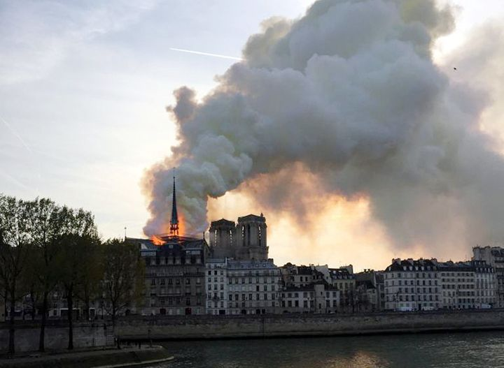 Smoke billows from the Notre Dame Cathedral after a fire broke out, in Paris, France, on Monday.