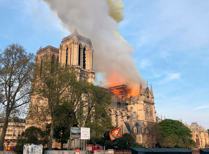 Notre Dame Cathedral burning in Paris on Monday.