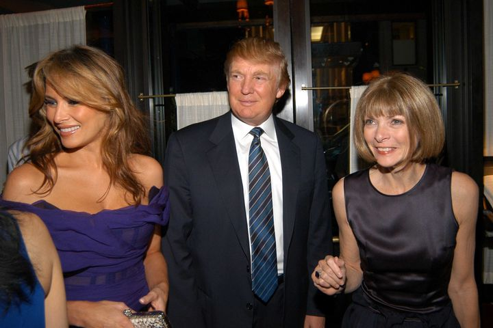 Melania and Donald Trump and Anna Wintour attend the launch party for Andre Leon Talley's Book  on June 7, 2005, in NYC.