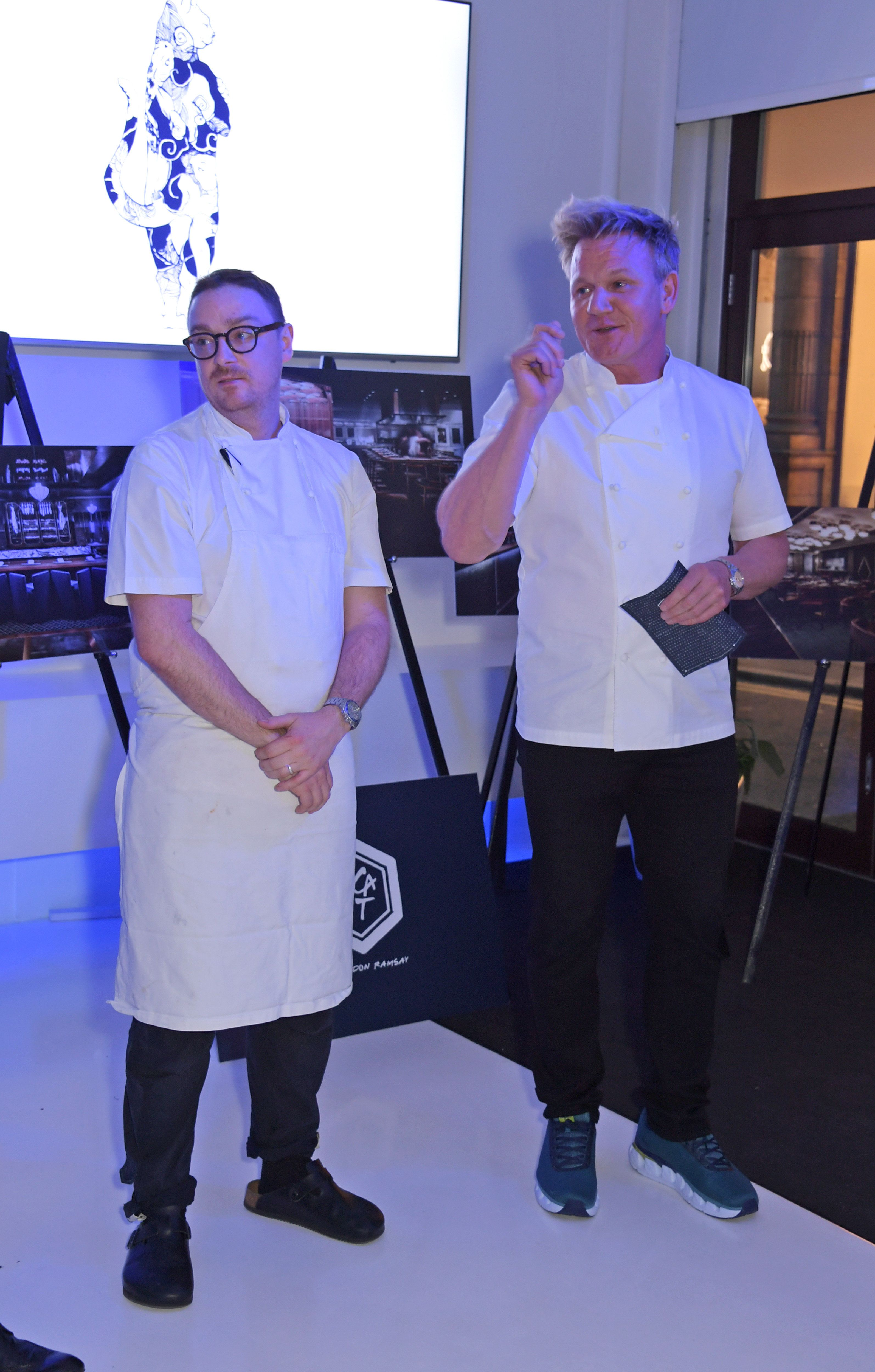 LONDON, ENGLAND - APRIL 10:  Gordon Ramsay (R) speaks at an intimate dinner hosted by Gordon Ramsay to preview his highly-anticipated new Mayfair restaurant Lucky Cat, opening this summer, on April 10, 2019 in London, England.  (Photo by David M. Benett/Dave Benett/Getty Images for Gordon Ramsay Restaurants)