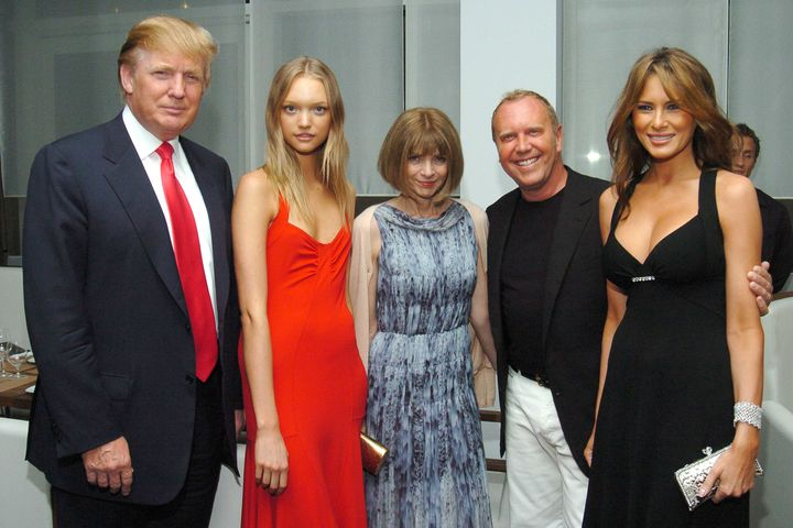 Donald Trump, Gemma Ward, Anna Wintour, Michael Kors and Melania Trump attend a party for Michael Kors on June 9, 2005, in Ne