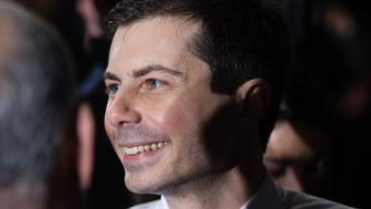 Pete Buttigieg, the mayor of South Bend, Indiana, greets attendees after making his official presidential campaign launch announcement at an event in South Bend, Indiana, U.S., on Sunday, April 14, 2019. Buttigieg, an underdog in the 2020 Democratic presidential primary race who's seen an uptick in support in recent weeks, formally entered the contest Sunday during an event in the city he leads. Photographer: Elijah Nouvelage/Bloomberg via Getty Images