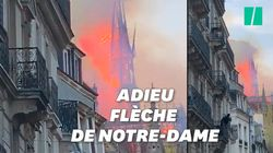 Les images de l'effondrement de la flèche de Notre-Dame de
