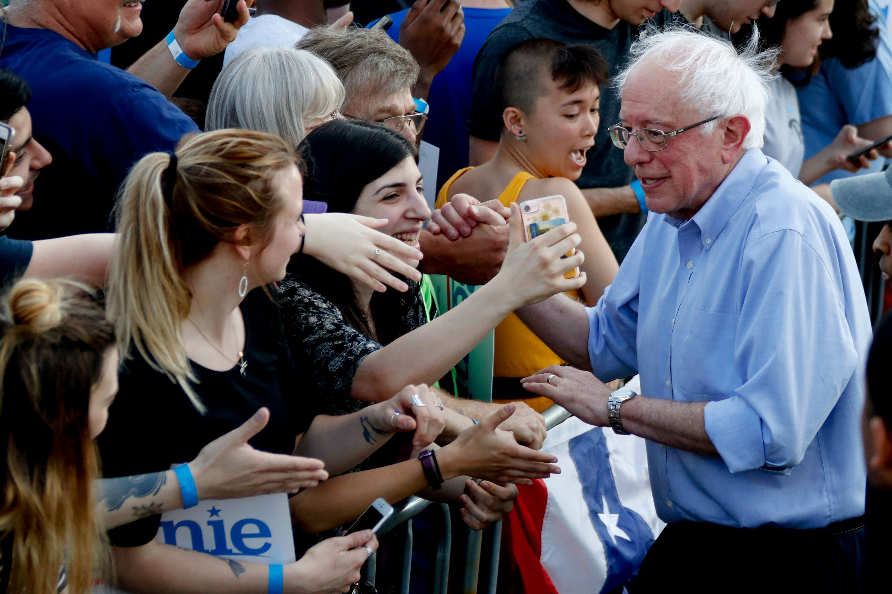 Sen. Bernie Sanders (I-Vt.) in Pittsburgh on Sunday. Releasing his tax returns allows Sanders to attack Donald Trump on his t