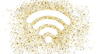 Gold glitter wifi icon with small star shapes