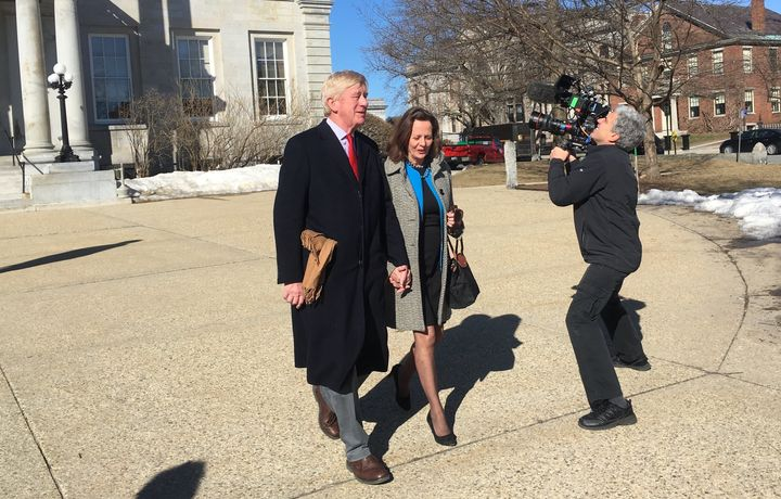 Former Massachusetts Gov. Bill Weld and wife Leslie Marshall leave the New Hampshire statehouse in Concord after a recent vis