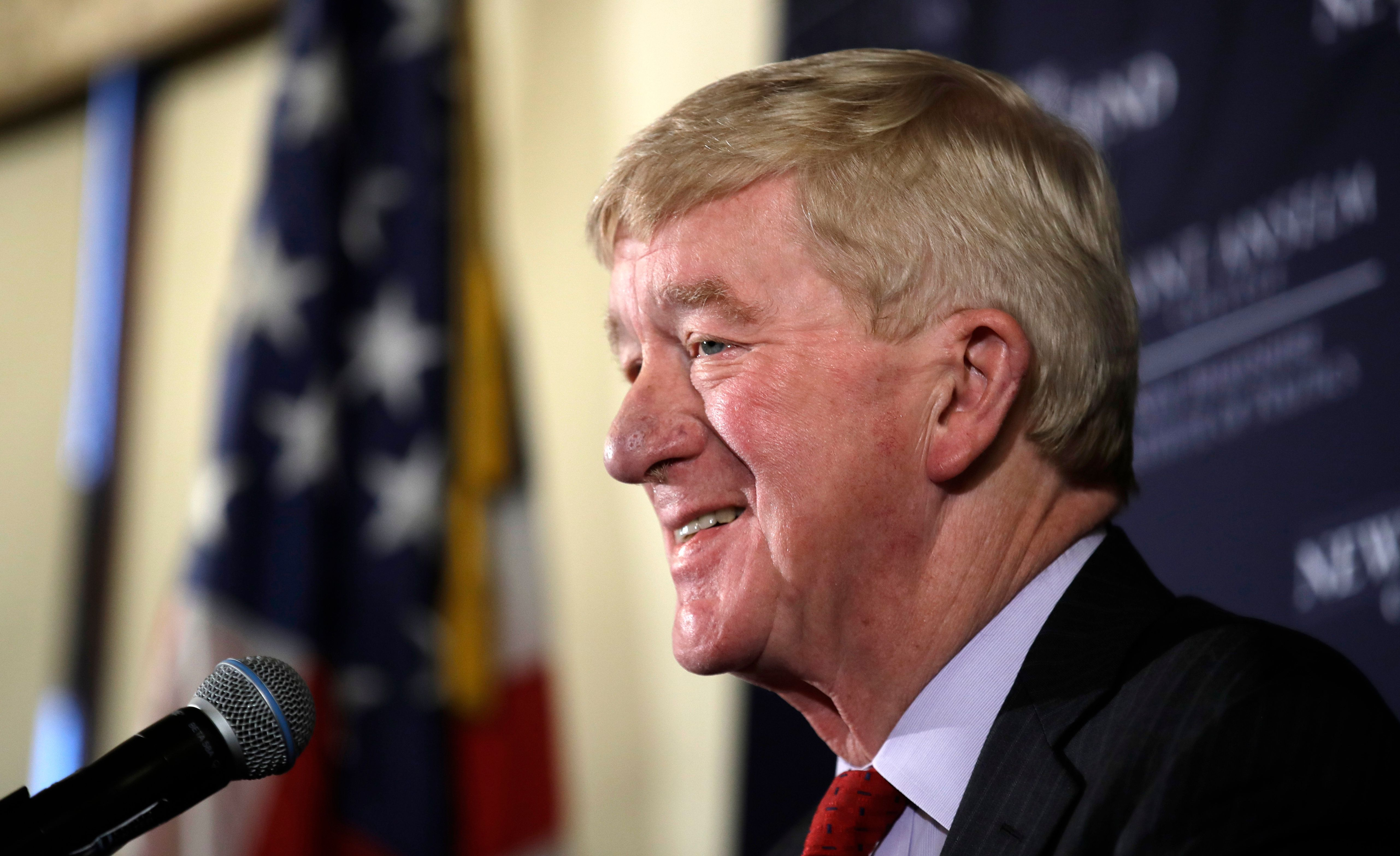 Former Massachusetts Gov. William Weld during a New England Council 'Politics & Eggs' breakfast in Bedford, N.H., Friday, Feb. 15, 2019. (AP Photo/Charles Krupa)