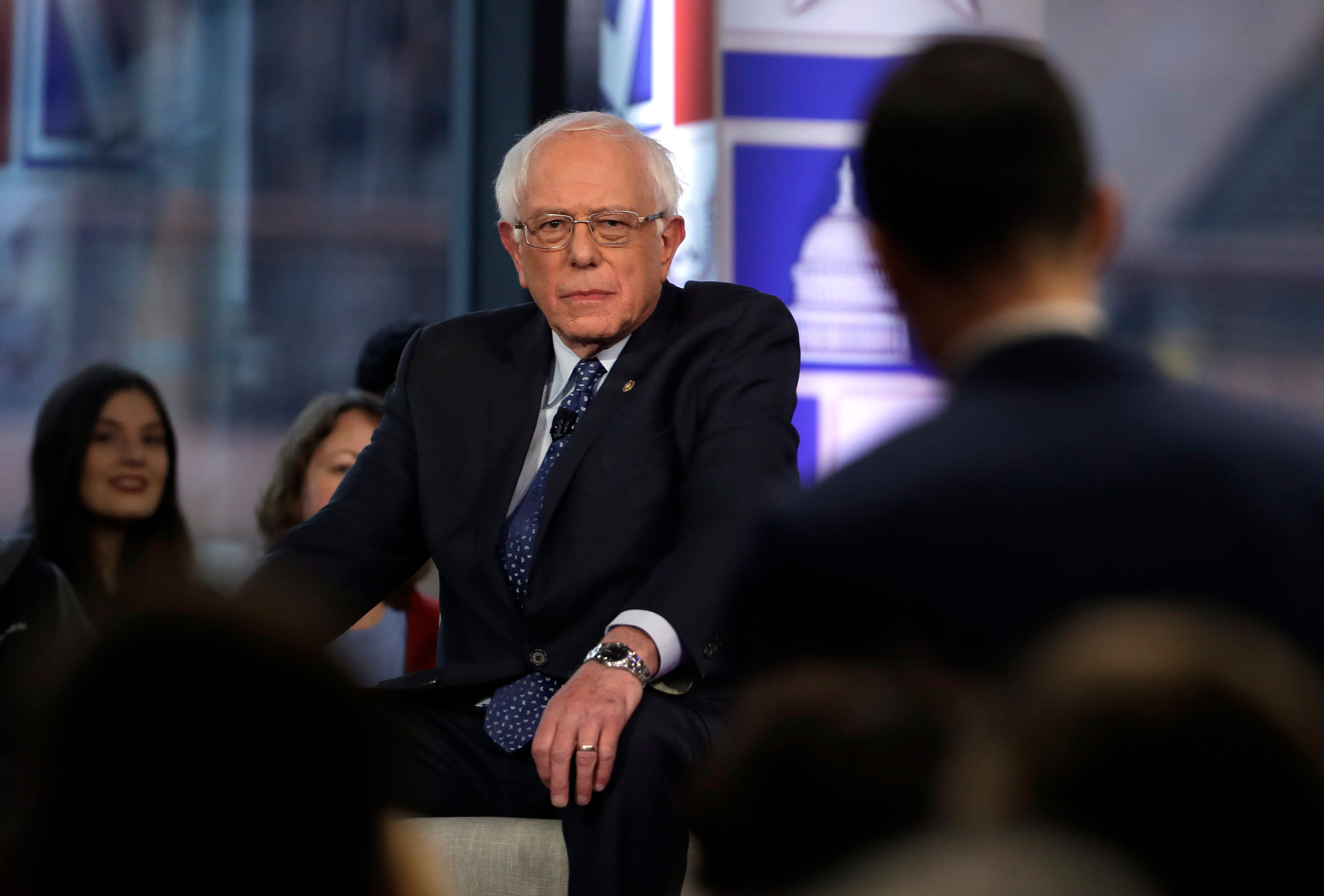 Sen. Bernie Sanders listens to a question from an audience member during a Fox News town-hall style event Monday April 15, 2019 in Bethlehem, Pa. (AP Photo/Matt Rourke)
