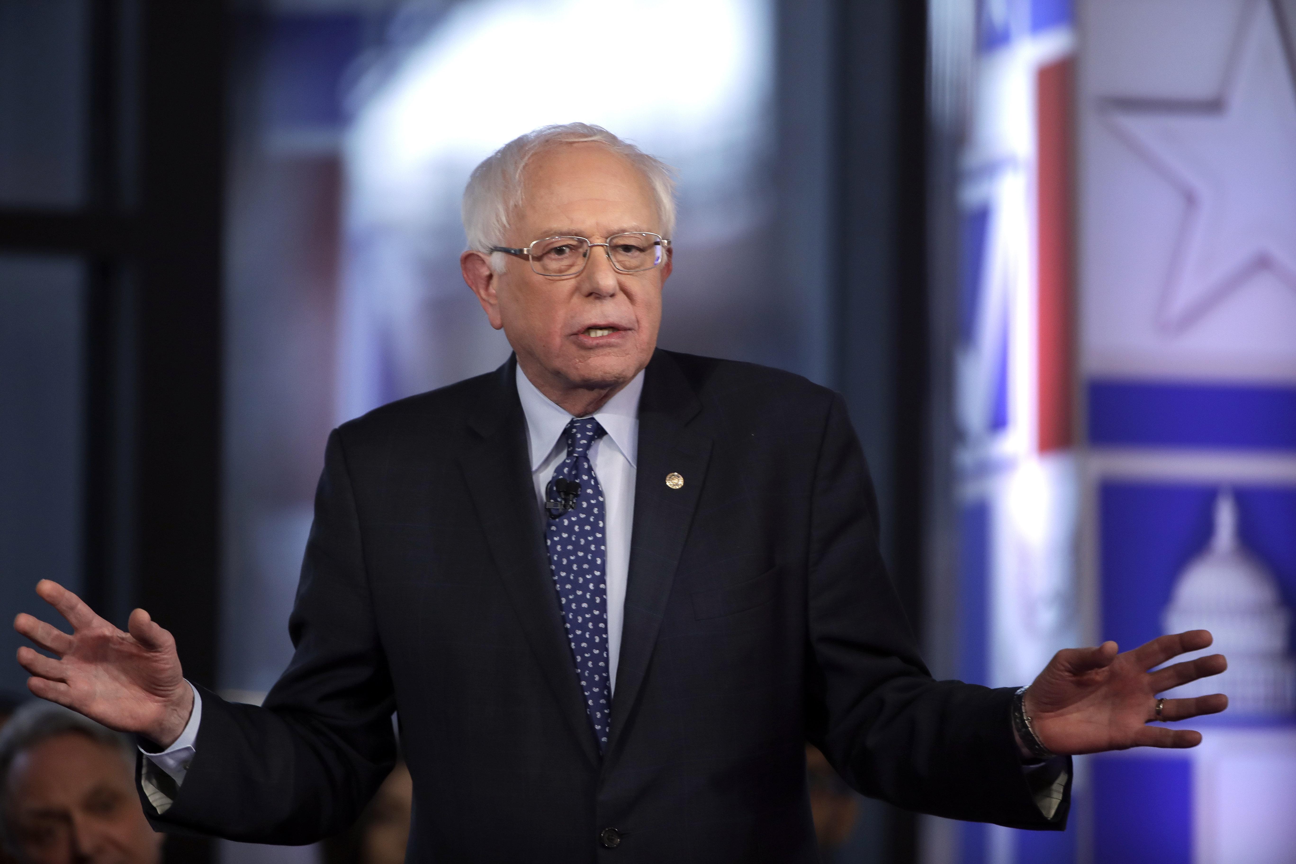 Sen. Bernie Sanders (I-Vt.) speaks during a Fox News town-hall-style event on Monday in Bethlehem, Pennsylvania.
