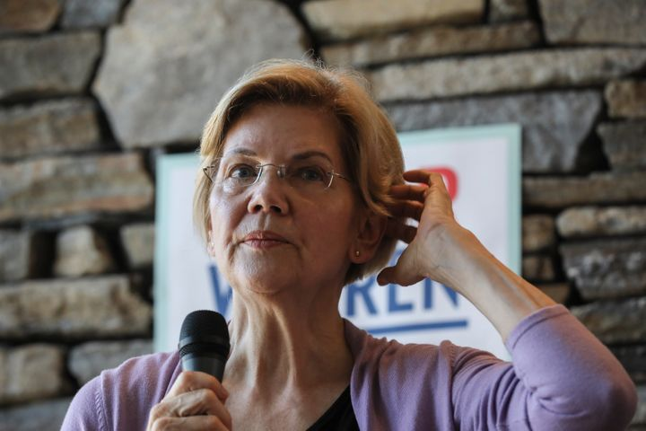 Sen. Elizabeth Warren (D-Mass.), here at a fundraiser in New Hampshire on Saturday, had the second highest amount of money av