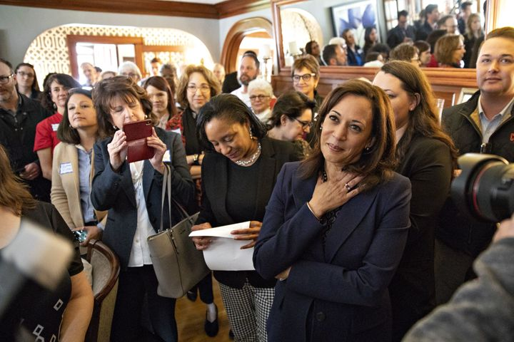 Sen. Kamala Harris (D-Calif.), here at an Iowa fundraiser Thursday, raised the second-highest total among the Democratic cand