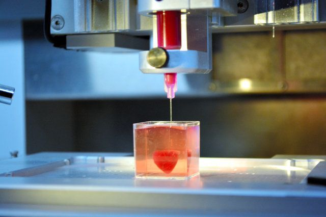 3Dプリンターを使って心臓を「印刷」している様子=2019年4月15日、テルアビブ、高野遼撮影