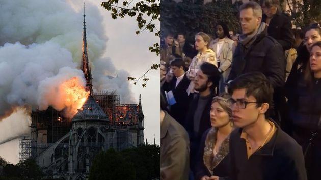 노트르담 대성당 화재 현장의 파리 시민들은 '아베 마리아'를