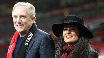 Francois Henri-Pinault and Salma Hayek react after the final whistle (Photo by Nick Potts/PA Images via Getty Images)