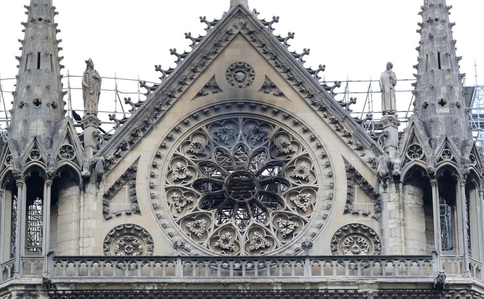 Smoke damage is seen at Notre Dame cathedral on Tuesday