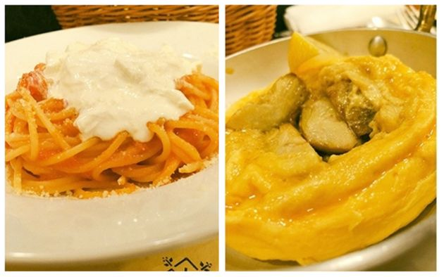 「ストラッチャテッラ(ブッラータの中身)をのせたフレッシュトマトソースのスパゲティ」(左)と「ソスタンツァ風アーティチョークのオムレツ