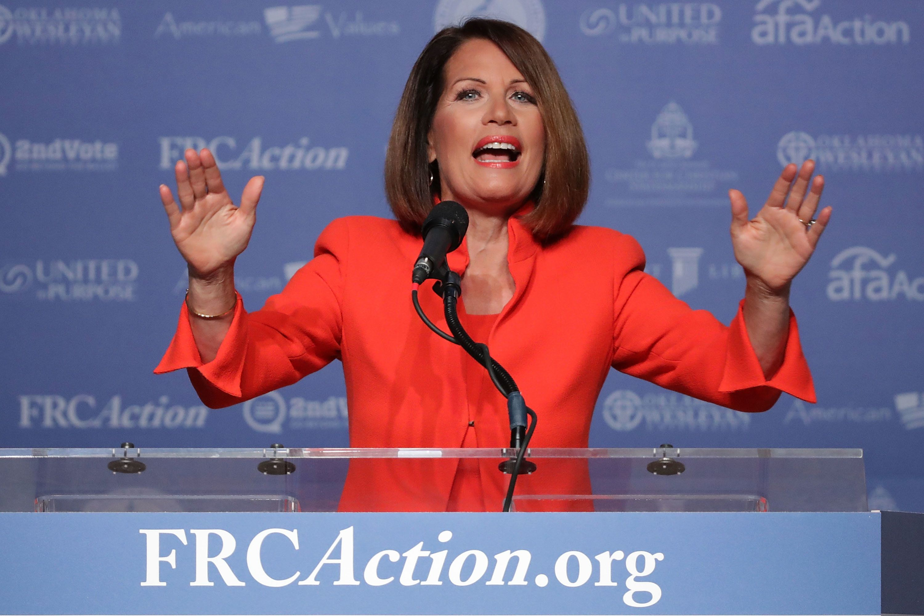 WASHINGTON, DC - SEPTEMBER 09:  Former U.S. member of congress Michele Bachmann (R-N) addresses the Values Voter Summit at the Omni Shoreham September 9, 2016 in Washington, DC. Hosted by the Family Research Council, the summit is an annual gathering of social and political conservatives. During the summit's 2015 presidential straw poll, Republican presidential candidate Donald Trump placed fifth with only 5% of the vote.  (Photo by Chip Somodevilla/Getty Images)