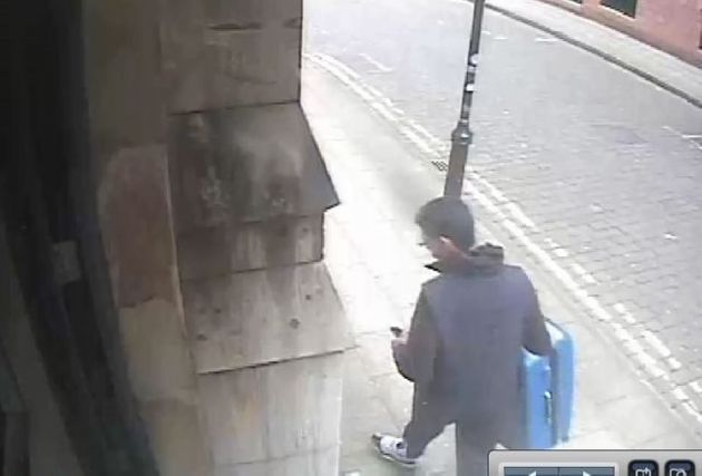 Salman Abedi carrying a distinctive blue suitcase before he carried out the Manchester Arena terror