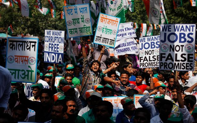 File photo of a protest against unemployment led by the Trinamool Congress. The issue has become the...