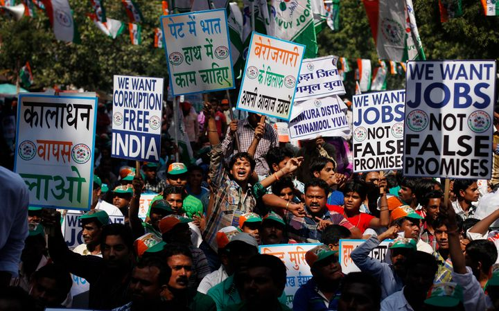 File photo of a protest against unemployment led by the Trinamool Congress. The issue has become the most significant in India's politics in the past two years as economists say the twin economic shocks of demonetisation and Goods and Services Tax have adversely affected jobs more in the informal sector, which provides employment for the majority.