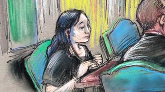 """In this court sketch, Yujing Zhang, left, a Chinese woman charged with lying to illegally enter President Donald Trump's Mar-a-Lago club, listens to a hearing Monday, April 15, 2019, before Magistrate Judge William Matthewman in West Palm Beach, Fla. Zhang was denied bail and considered an """"extreme flight risk"""" at the court hearing. (Daniel Pontet via AP)"""