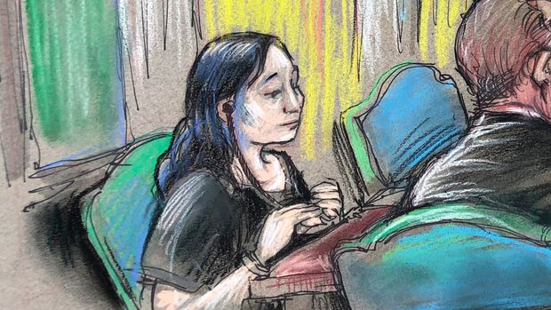 "In this court sketch, Yujing Zhang, left, a Chinese woman charged with lying to illegally enter President Donald Trump's Mar-a-Lago club, listens to a hearing Monday, April 15, 2019, before Magistrate Judge William Matthewman in West Palm Beach, Fla. Zhang was denied bail and considered an ""extreme flight risk"" at the court hearing. (Daniel Pontet via AP)"