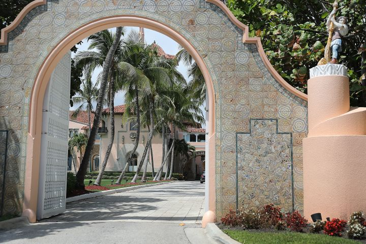 An entranceway to President Donald Trump's Mar-a-Lago resort is seen on April 3, 2019 in West Palm Beach, Florida.