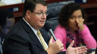 Rep. Randy Fine, R-Brevard county, debates on the invest Florida section of the budget during session, Friday, June 9, 2017, in Tallahassee, Fla. (AP Photo/Steve Cannon)