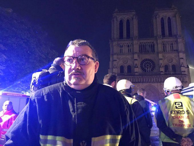 Father Jean-Marc Fournier, fire brigade chaplain, saved the Crown of Thorns from Notre Dame as it burned. (Twitter)
