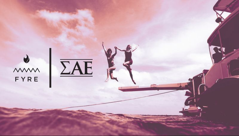 A Fyre x ΣΑΕ banner for the party, courtesy of Aks.