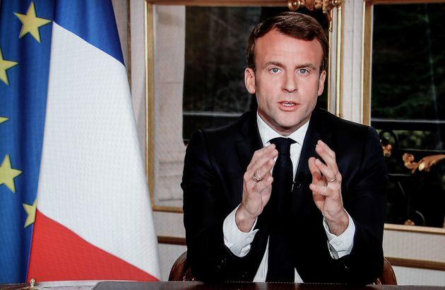 Emmanuel Macron, en una captura de su discurso televisado de esta