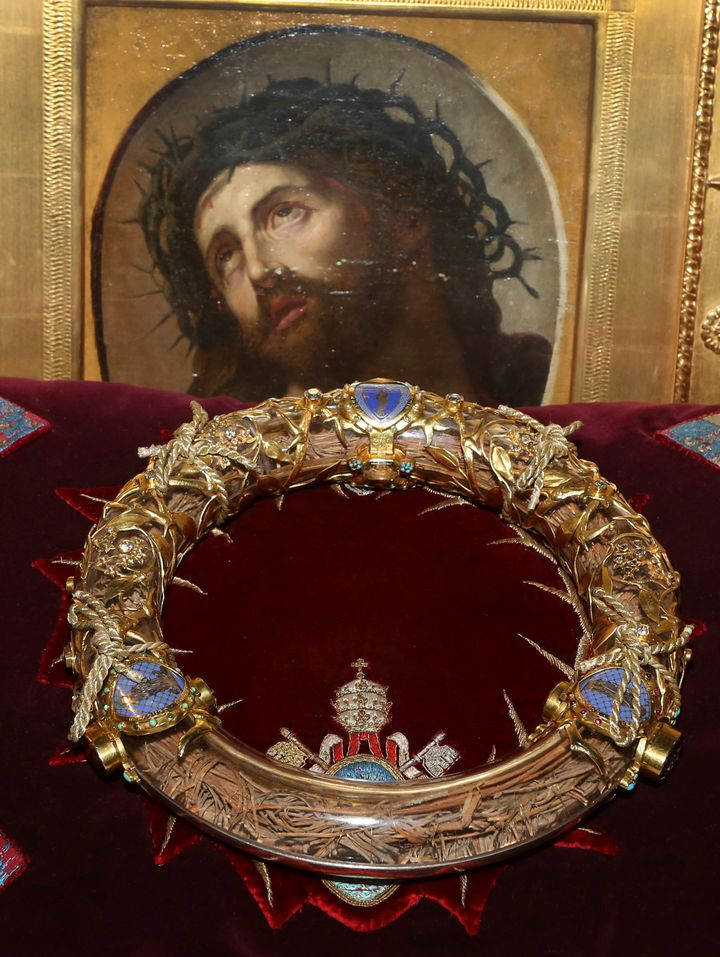The crown of thorns, which was believed to have been worn by Jesus Christ and was bought by King Louis IX in 1239, is seen at