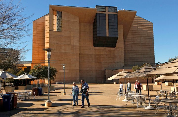 Visitors tour the grounds of the Cathedral of Our Lady of the Angels, the seat of the Archdiocese of Los Angeles, in January