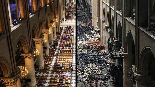 Notre Dame Cathedral before the fire, left, and then after.
