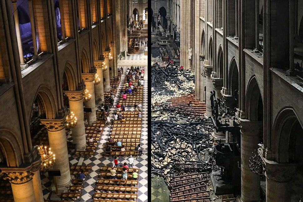 Here's how Notre Dame Cathedral looked before and after Monday's fire.