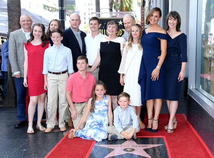 Garner with her extended family at her Hollywood Walk of Fame ceremony.