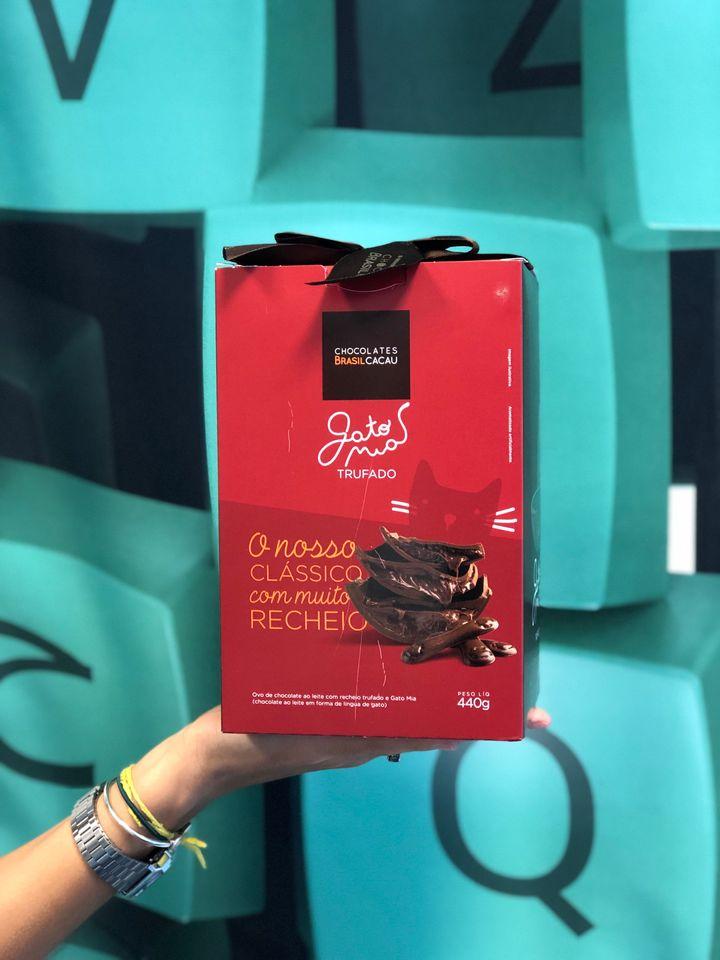 Gato Mia é chocolate da Chocolates Brasil Cacau.